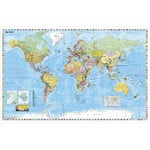 Stiefel Mapa mundial Wall map with white wood frame and hanging cord