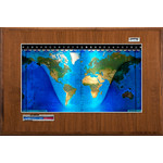 Geochron Boardroom model physical map in real walnut wood veneer design and silver coloured trim