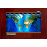 Geochron Boardroom model physical map in real mahogany wood veneer finish and gold-coloured trim