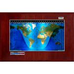 Geochron Harta fizica, model sala de consiliu, in lemn de mahon veritabil si margine de culoare argintie