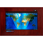 Geochron Boardroom model physical map in real mahogany wood veneer finish and black trim