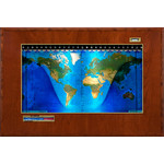 Geochron Boardroom model physical map in real cherry wood veneer finish and gold-coloured trim