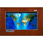 Geochron Boardroom model physical map in real cherry wood veneer finish and silver coloured trim