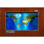 Geochron Modello Boardroom planisfero fisico con impiallacciatura in ciliegio e finiture argento