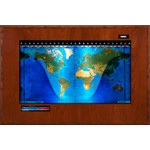 Geochron Boardroom model physical map in real cherry wood veneer finish and black trim