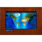 Geochron Modello Boardroom planisfero fisico con impiallacciatura in ciliegio e finiture nere