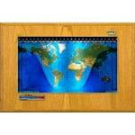 Geochron Boardroom model physical map in real honey-oak wood veneer design and gold-coloured trim