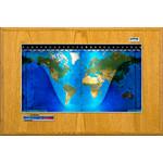 Geochron Harta fizica, model sala de consiliu, in lemn de stejar veritabil si margine de culoare argintie