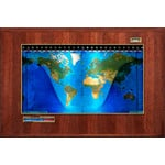 Geochron Boardroom model physical map in real Hickory wood veneer design and gold-coloured trim