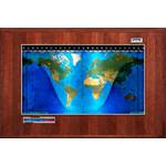 Geochron Modello Boardroom planisfero fisico con impiallacciatura in noce americano e finiture argento