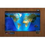 Geochron Original Kilburg physical map in real walnut wood veneer design and black trim