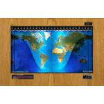 Geochron Planisphère physique Original Kilburg , en placage chêne clair véritable et baguettes de finition noires