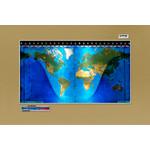 Geochron Original Kilburg physical map in gold anodised aluminium and silver coloured trim