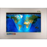 Geochron Original Kilburg physical map in matt stainless steel and gold-coloured trim