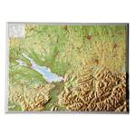 Georelief Regional-Karte Allgäu Bodensee klein, 3D Reliefkarte