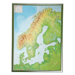 Georelief Carta magnética Scandinavia 3D relief map with silver plastic frame, large