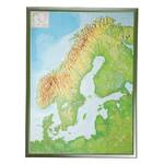 Georelief Skandinavien groß, 3D Reliefkarte mit Kunststoffrahmen silber