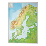 Carte magnétique Georelief Scandinavia 3D relief map with silver plastic frame, large
