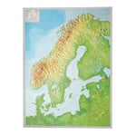 Georelief Scandinavia 3D relief map with silver plastic frame, large