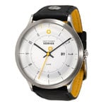 DayeTurner SEIRIOS men's analogue watch, silver - black leather strap