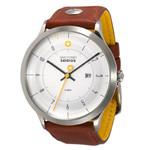 DayeTurner SEIRIOS Zegarek analogowy męski, srebrny, pasek skórzany jasnobrązowy