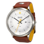 DayeTurner SEIRIOS men's analogue silver watch - light brown leather strap