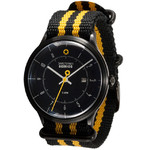 DayeTurner SEIRIOS men's black analogue watch - nylon black/yellow strap