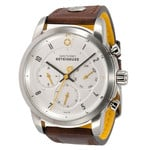 DayeTurner BETELGEUZE men's analogue silver watch - dark brown leather strap