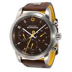 DayeTurner BETEIGEUZE Zegarek analogowy męski, srebrno-brązowy, pasek skórzany ciemnobrązowy
