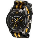 DayeTurner BETEIGEUZE Zegarek analogowy męski, srebrny, pasek nylonowy czarny/żółty