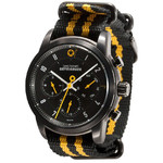 DayeTurner BETELGEUZE men's analogue watch, silver - nylon, black/yellow strap