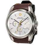 DayeTurner ENCELADUS men's analogue watch, silver - light brown leather strap