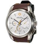 DayeTurner ENCELADUS men's analogue watch, silver - light brown leather strap