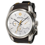 DayeTurner ENCELADUS men's silver analogue watch - dark brown leather strap