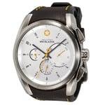 DayeTurner ENCELADUS men's silver analogue watch - dark brown leather strap