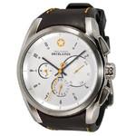 DayeTurner Reloj de caballero analógico ENCELADUS, plata - cuero marrón oscuro