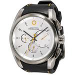DayeTurner ENCELADUS men's analogue watch, silver - black leather strap