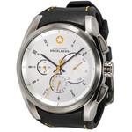 DayeTurner ENCELADUS men's analogue watch, silver - black leather strap
