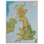 Georelief Mapa Great Britain 3D relief map with aluminium frame
