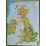 Carte géographique Georelief Great Britain, 3D relief map with plastic frame silver