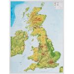Georelief Landkarte Großbritannien groß, 3D Reliefkarte mit Kunststoffrahmen silber