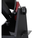 The telescope sits in the Dobsonian mount like so. Use the friction wheel to easily set the amount of friction desired.
