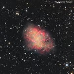 The Crab Nebula, M1, in the constellation of Taurus - taken using an Omegon RC telescope