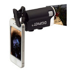 DIGIPHOT Microscop de mana PM-6001 Taschen-Mikroskop, Smartphone-Clip, 60x-100x
