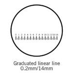 Motic Réticule avec grille (14 mm en 70 divisions), (Ø25 mm)