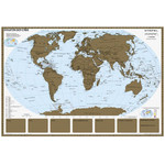 Stiefel World map scratch map with metal frame States of the World