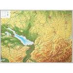 Georelief Allgäu Bodensee groß mit Aluminiumrahmen, 3D Reliefkarte