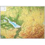 Georelief Regional-Karte Allgäu Bodensee groß mit Aluminiumrahmen, 3D Reliefkarte