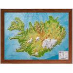 Georelief Landkarte Island (klein) mit Holzrahmen, 3D Reliefkarte