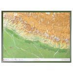 Georelief 3D Karte Nepal groß mit Holzrahmen